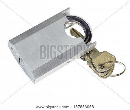 Unlocked Padlock And Key Isolated On White Background