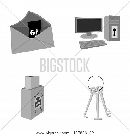 Virus, monitor, display, screen .Hackers and hacking set collection icons in monochrome style vector symbol stock illustration .