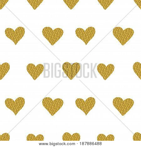 Seamless Pattern With Golden Glitter Hearts Isolated On A White