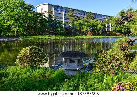 Lake At Downtown In Akita, Japan