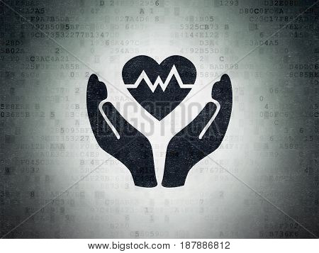 Insurance concept: Painted black Heart And Palm icon on Digital Data Paper background