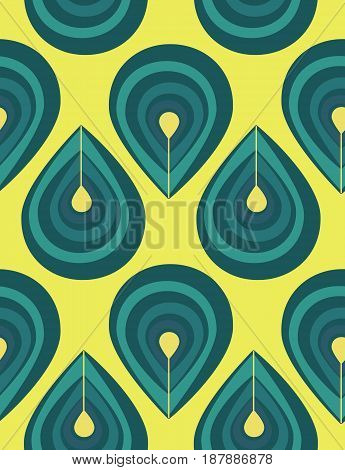 Abstract seamless pattern with blue drop elements, blue peacock feathers on yellow background