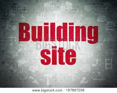 Constructing concept: Painted red text Building Site on Digital Data Paper background with  Scheme Of Hand Drawn Building Icons