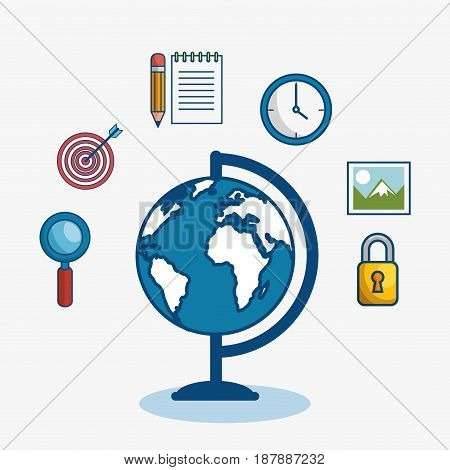 A globe surrounded by magnifying glass, target, notepad, pencil, wall clock, picture and padlock, over white background. Vector illustration.