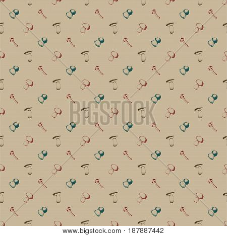 Hand drawn seamless pattern with mushrooms. Vector doodle illustration.