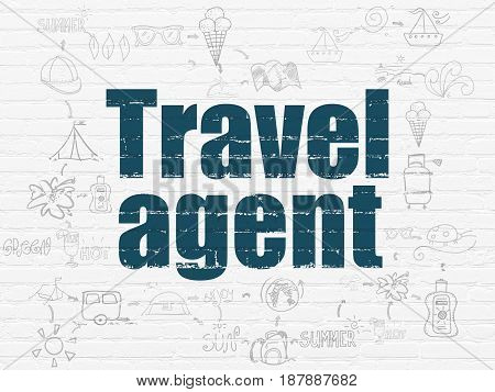 Tourism concept: Painted blue text Travel Agent on White Brick wall background with Scheme Of Hand Drawn Vacation Icons
