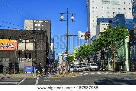 Street At Downtown In Akita, Japan