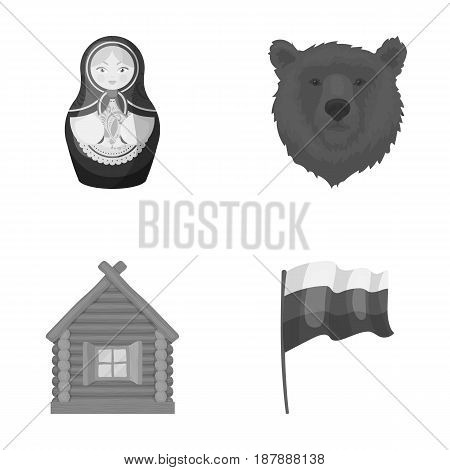 Russia, country, nation, matryoshka .Russia country set collection icons in monochrome style vector symbol stock illustration .