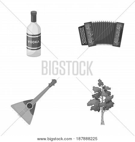 Russia, country, vodka, accordion .Russia country set collection icons in monochrome style vector symbol stock illustration .