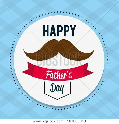 happy father day card with mustache and ribbon design, vector illustration
