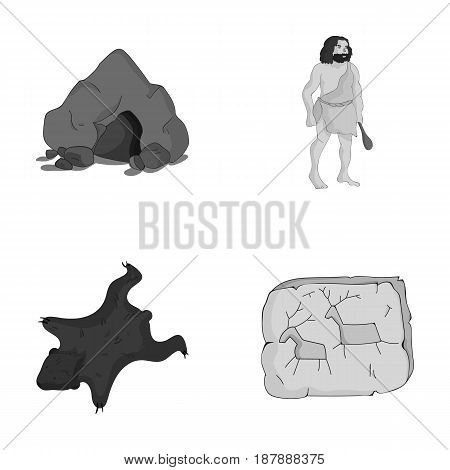 Ancient, world, stone age .Stone age set collection icons in monochrome style vector symbol stock illustration .