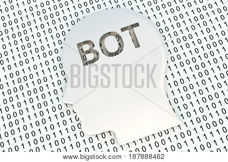 chat bot in the form of binary code, 3D illustration