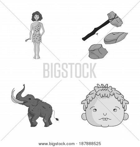 Weapon, hammer, elephant, mammoth .Stone age set collection icons in monochrome style vector symbol stock illustration .