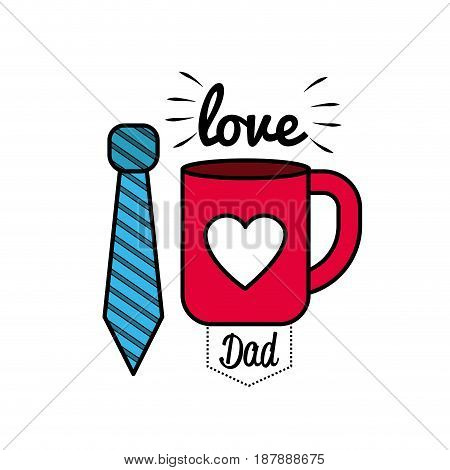 card of father day with tie and cup decoration, vector illustration
