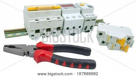 Automatic circuit breaker and tools isolated on a white background