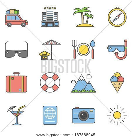 Summer travel linear and beach vacation line icons. Summer holiday pictogram, tropical summer paradise. Vector illustration