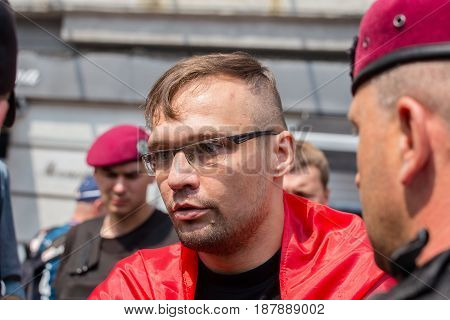 KIEV UKRAINE - JULY 27 2016 : Detention of a member of the volunteer battalion Sich national police during religious procession parishioners Ukrainian Orthodox Church Moscow Patriarchate