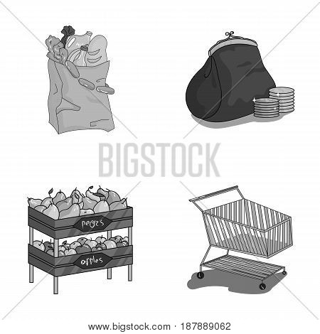 Sausages, fruit, cart .Supermarket set collection icons in monochrome style vector symbol stock illustration .