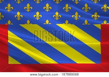 Flag of Abbeville is a commune in the Somme department and in Hauts-de-France region in northern France. 3d illustration