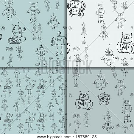 Vector robot doodle seamless pattern set. Concept of science and future. Cartoon style. Hand-drawn outline illustration.