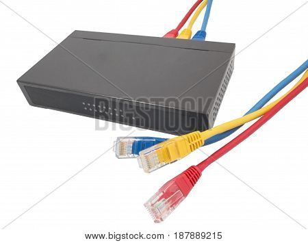 Closeup of network cables and router on white