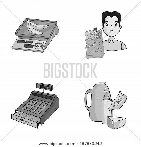 Package, scales, banana, fruit .Supermarket set collection icons in monochrome style vector symbol stock illustration .