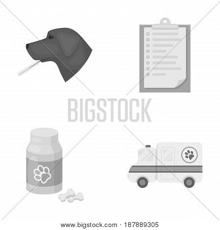 Hospital, veterinarian, dog, thermometer .Vet Clinic set collection icons in monochrome style vector symbol stock illustration .