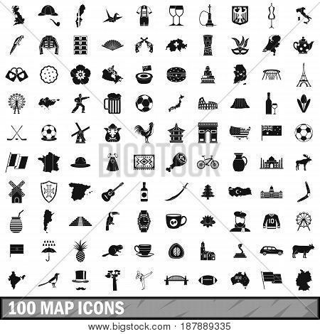 100 map icons set in simple style for any design vector illustration