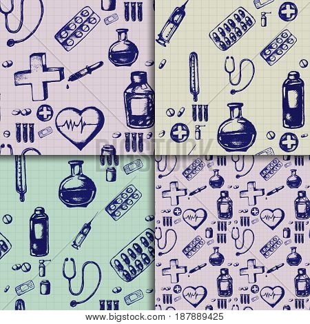 Healthcare and medicine. Vector doodle seamless pattern set with thermometer, heart, stethoscope, test tubes, plaster and pills. Medical hand drawn icons on checkered background.