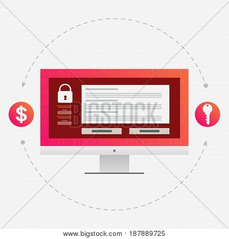 Virus encryptor message on pc screen. Money exchange for a key. Editable eps10 Vector. Transparent background.