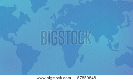 Cubic isometric pattern against the background of world continents world map. Dark blue background. Editable eps10 vector.