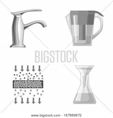 Filter, filtration, nature, eco, bio .Water filtration system set collection icons in monochrome style vector symbol stock illustration .
