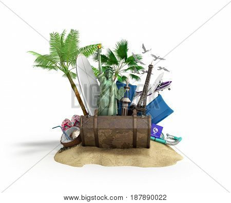Concept Of Travel And Tourism Attractions And Brown Suitcase For Travel 3D Illustration On White
