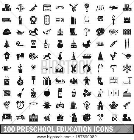 100 preschool education icons set in simple style for any design vector illustration