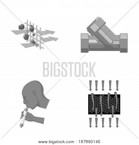 Man, bald, head, hand .Water filtration system set collection icons in monochrome style vector symbol stock illustration .