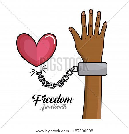 hand up with chain and heart to celebrate freedom, vector illustration