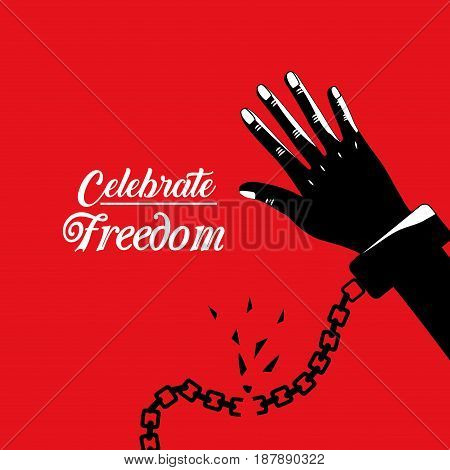 hand with chain to celebrate freedom juneteenth, vector illustration