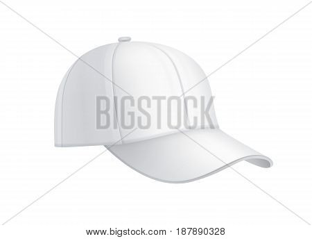 Vector realistic white baseball cap side view isolated on background