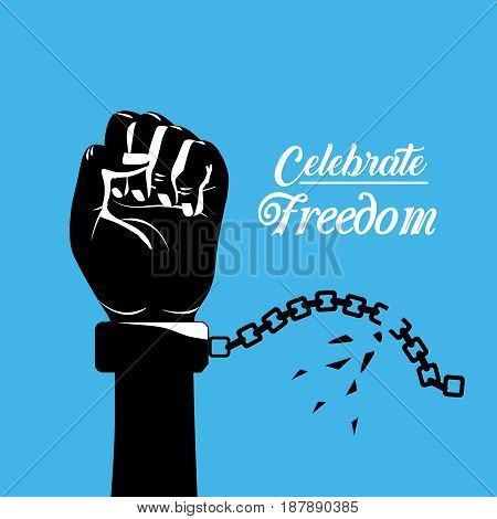 hand fist up with chain to celebrate freedom, vector illustration