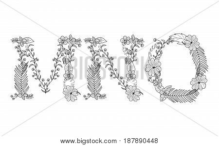 Tropical floral summer pattern hand drawn ornamental font set with palm beach leaves, flower. Letter M, N, O