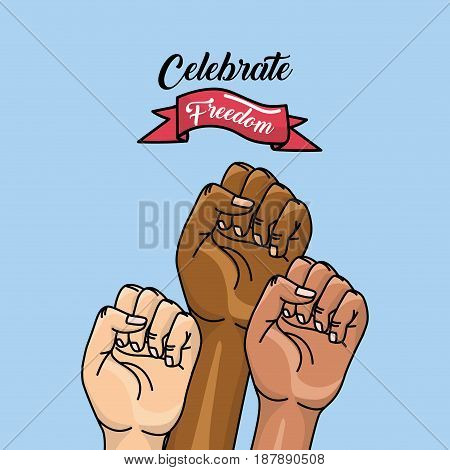 hands fist up with ribbon to celebrate freedom, vector illustration