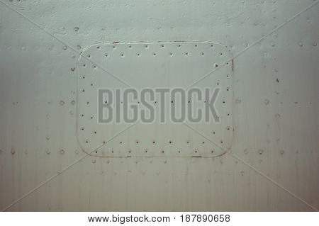 Milk Color Metal Plate With Rivets For Grunge Or Abstract Background.