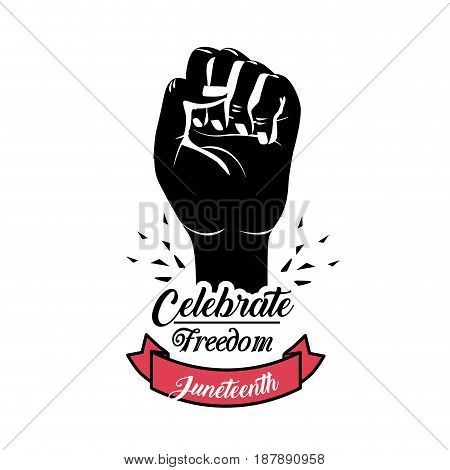 hand fist up with ribbon to celebrate freedom juneteenth, vector illustration
