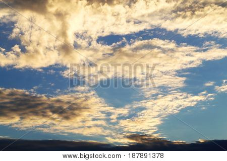 Beautiful photo with large white clouds on a blue sky