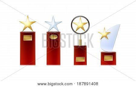 Vector different golden, glass star trophies with big red base and golden signboards for copyspace front view isolated on white background
