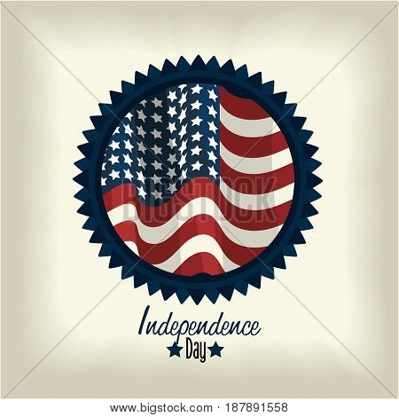 independence day with emblem with fag inside, vector illustration