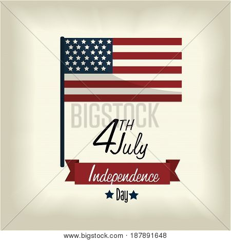 independence day with flag and ribbon design, vector illustration design