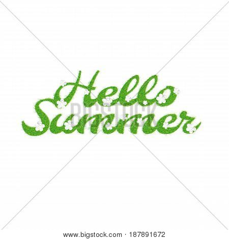 Greeting of the summer season. Lettering with the image of letters in the form of a lawn with flowers and the inscription summer, hello vector illustration.