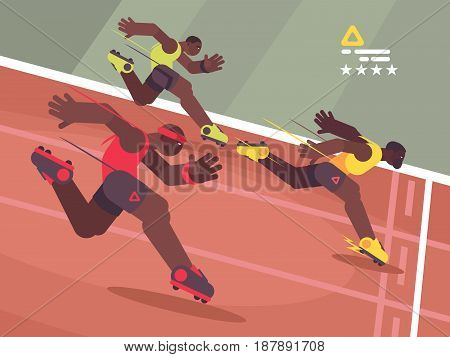 Athletics competition sprint. Athlete runs to finish line. Vector illustration