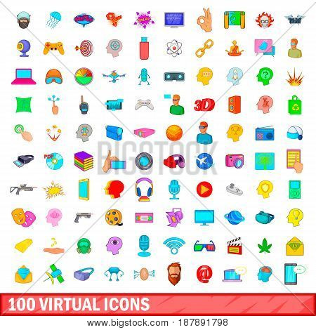 100 virtual icons set in cartoon style for any design vector illustration